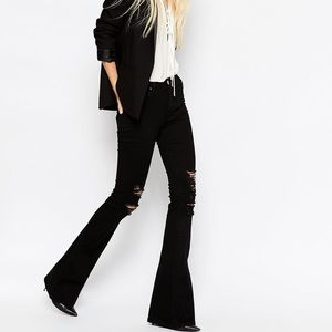 ASOS Bell Bottom Flare Distressed Black Jeans 25